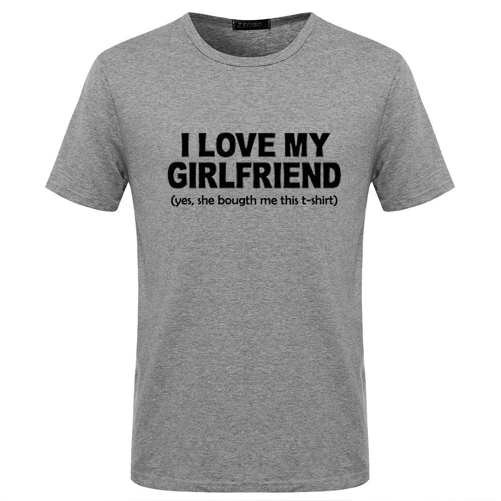 ff7f23f4919b Футболки с надписью Funny Letter Футболка I Love My Girl Friend Лучший  подарок Повседневная ...