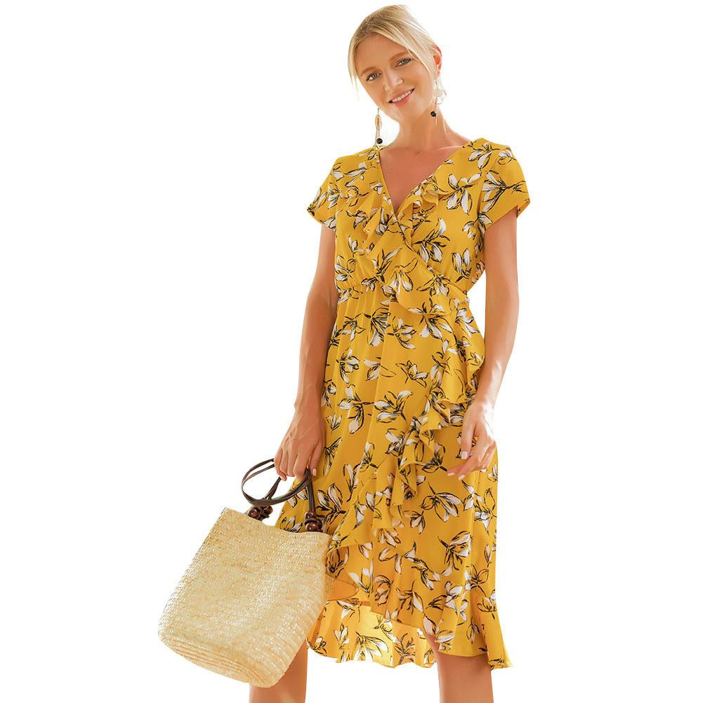 7797bcd2929be 2019 New Vintage Women Floral Dress Ruffles V Neck Short Sleeves Flower  Dress Female Asymmetric Beach Party Dress Yellow Ropa