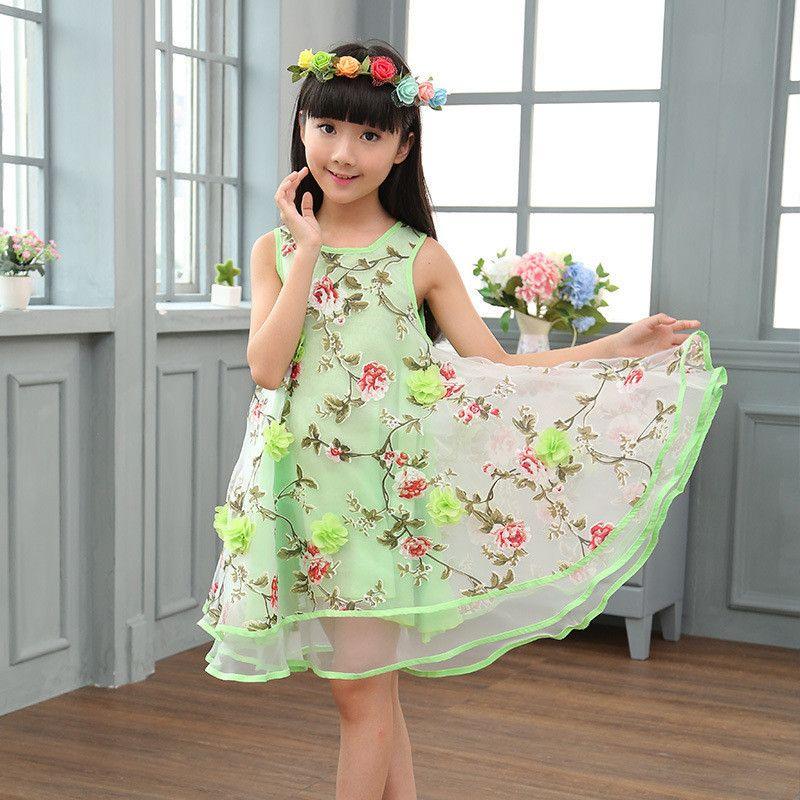 ac8f8b5ec Brand Summer Girl Dress Elegant Toddler Kids Clothes 2-14Y Birthday ...