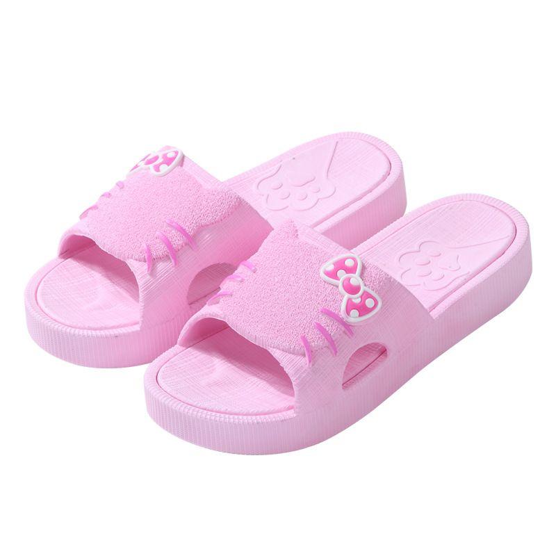 ab627b7178c4a6 Summer Cute Cartoon Cat Bath Slippers For Women Non Slide Indoor Flats Shoes  Beach Flip Flops Female Casual Cozy Slides Sandals Ladies Footwear Womens  Ankle ...