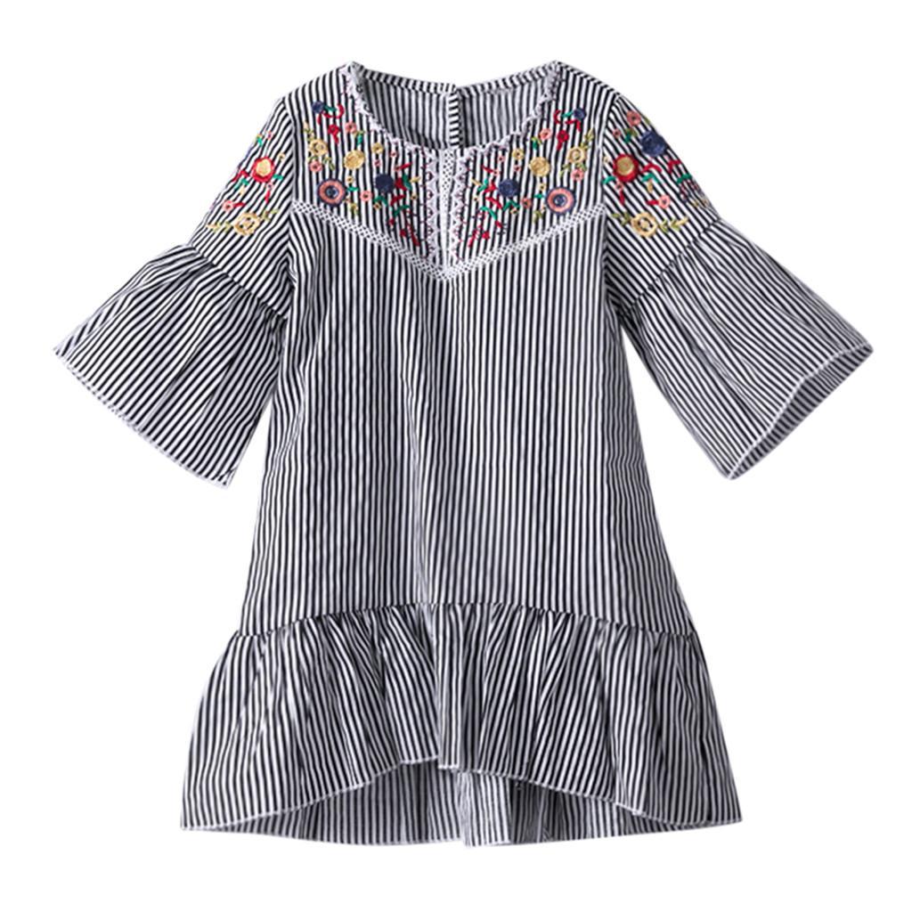 38caf4b7f56478 Filles Robe Robes De Broderie Automne Rayé Princesse Robes Enfants Pour La  Fête De Mariage Fille Bébé Vêtements Enfant 19Jan28