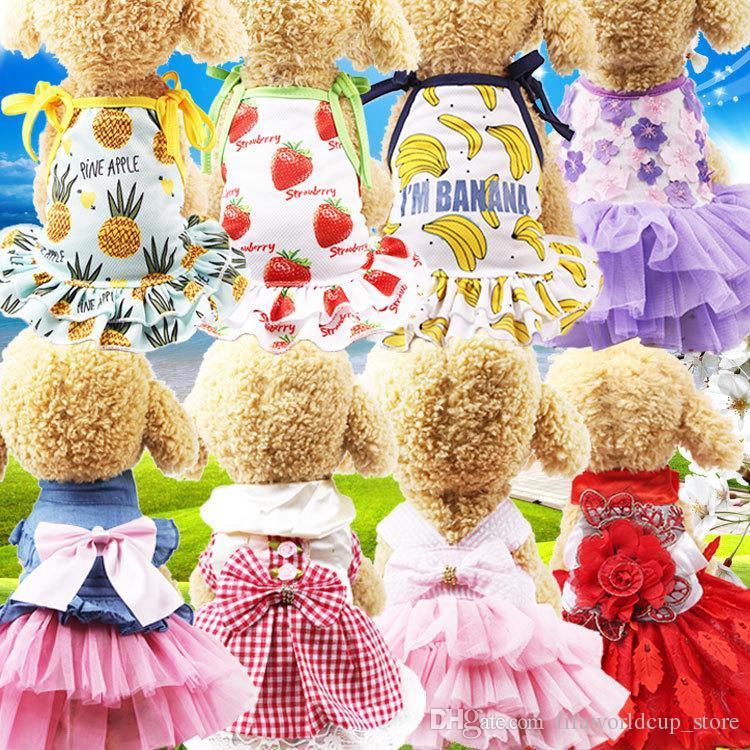 eebfc7943 Ropa para perros mascotas Primavera verano Ropa para gatos Falda para  mascotas Fiesta de mascotas Vestido de boda Labio Falda