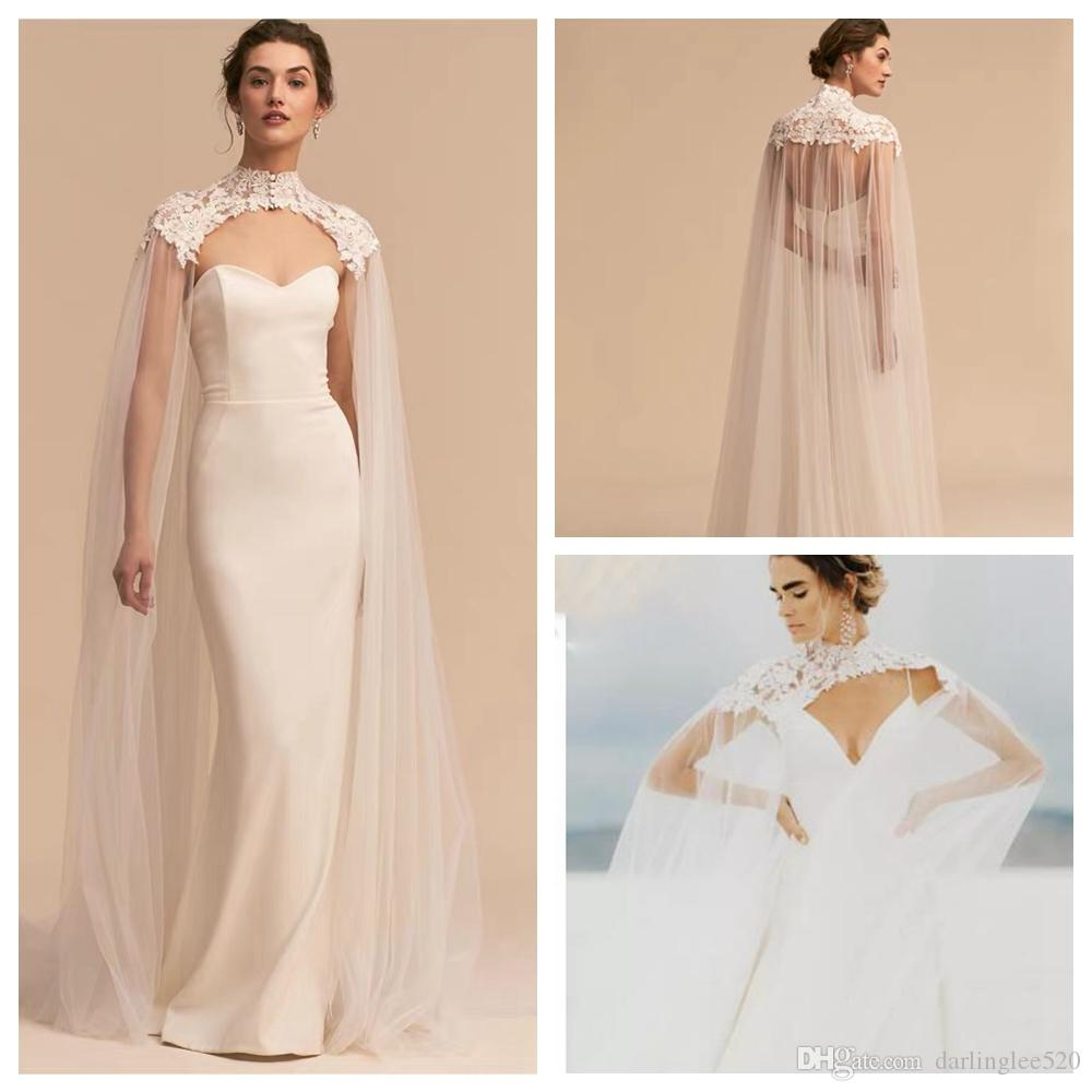 2b8ed37fd54ac 2019 2019 Tulle Long High Neck Wedding Cape Lace Jacket Bolero Wrap White  Ivory Women Bridal Accessories Custom Made New Arrival Elegant Lace From ...