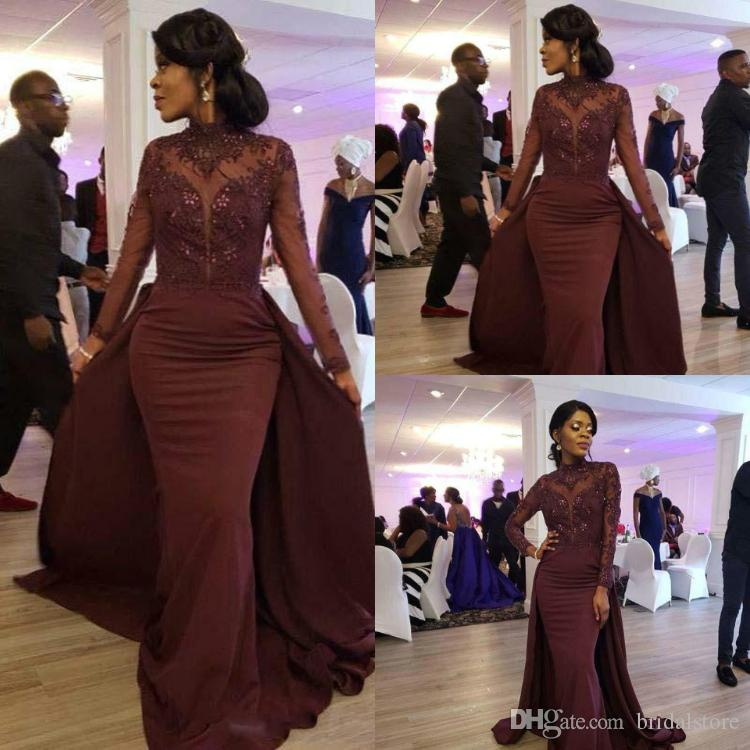 2019 New Burgundy High Neck Mermaid Prom Dresses With Overskirt Elegant  Long Sleeve Formal Evening Africa Beaded Lace Black Girls Prom Dress  Classic Prom ... 0108196167b3
