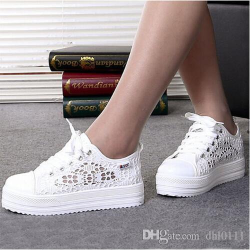 248ff836 Compre Zapatos De Mujer 2019 Moda Verano Casual Para Mujer Zapatos Recortes  Encaje Lienzo Hueco Plataforma Transpirable Zapatos Planos Mujer Zapatillas  De ...