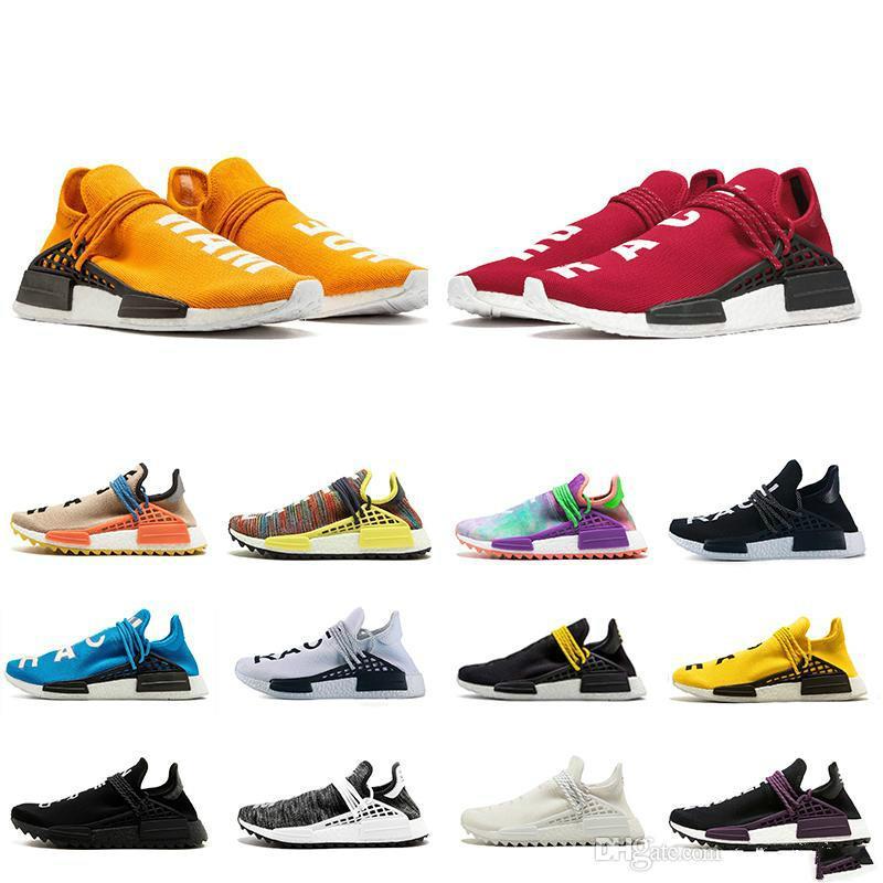 save off 6684a 49f9a Cheap Orange Human Race Trail Running Shoes Nerd Black Cream Men Women  Pharrell Williams HU Runner Yellow White Red Sports Runner Sneaker