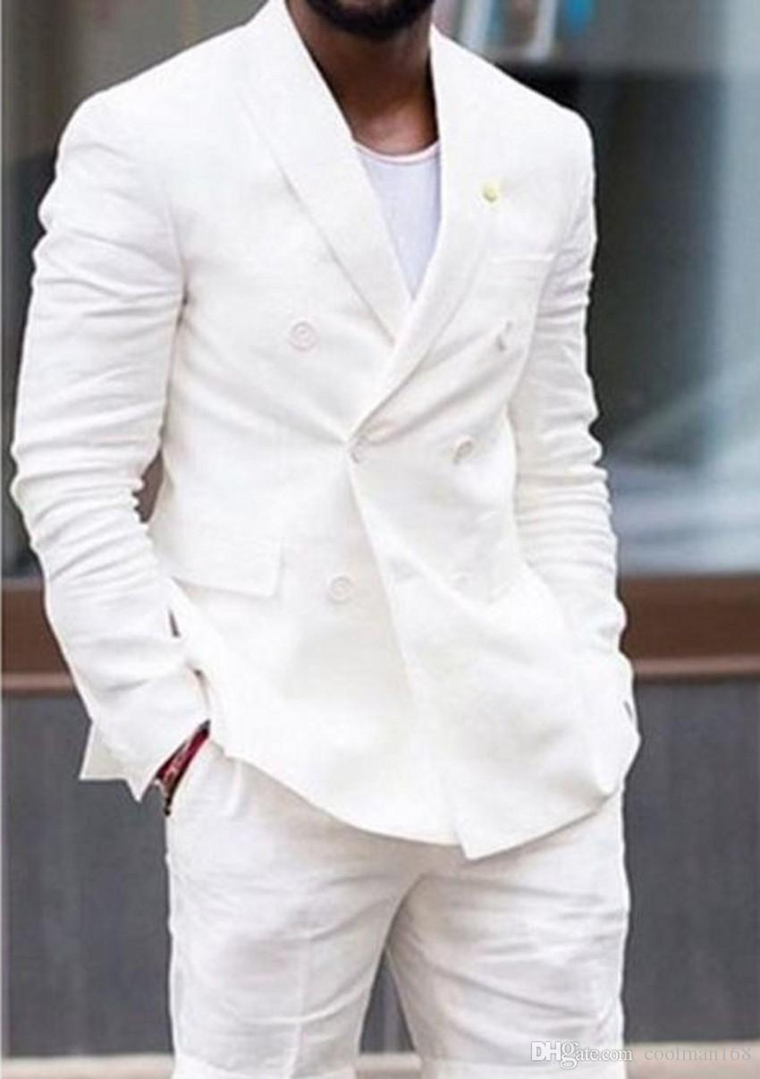 Linen Cloth Groom Tuxedos Ivory Men Wedding Tuxedos Double-Breasted Jacket Blazer Summer Fashion Men Dinner/Darty Suit(Jacket+Pants+Tie)1112