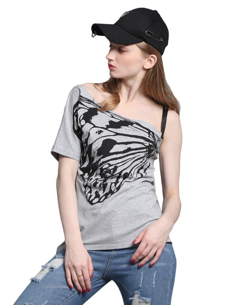 4d424f3d9153 4XL 5XL Plus Size Womens Clothing Summer Off Shoulder T Shirt One Shoulder  Short Sleeve Butterfly Loose Solid Casual Top Tees T Shirt Shirt Awesome T  Shirts ...