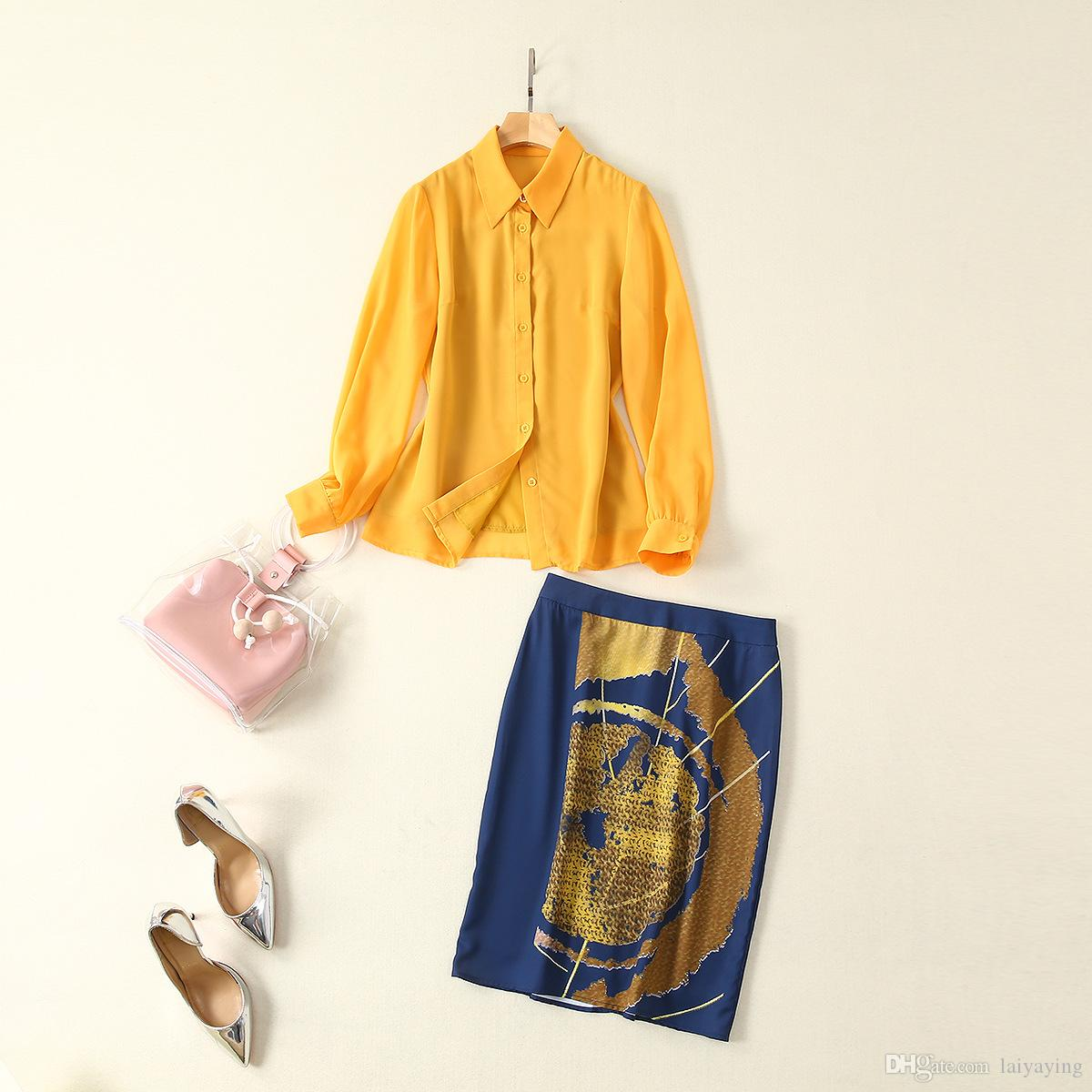 European and American women's clothing 2019 summer new style Long-sleeved yellow shirt Blue print skirts Fashion suits