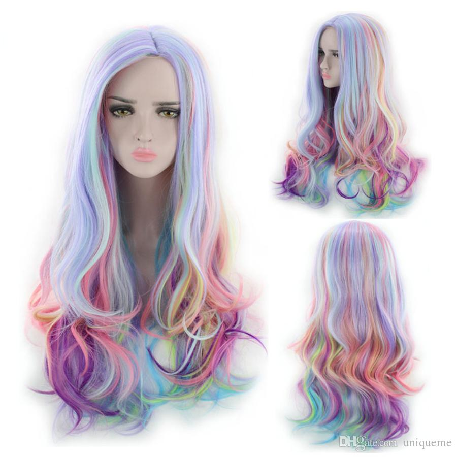 Rainbow Color Body Wave Synthetic Hair Wig Charming Curl Cosplay Wigs Heat  Resistant Fiber Body Wave Weave Glueless Synthetic Wigs