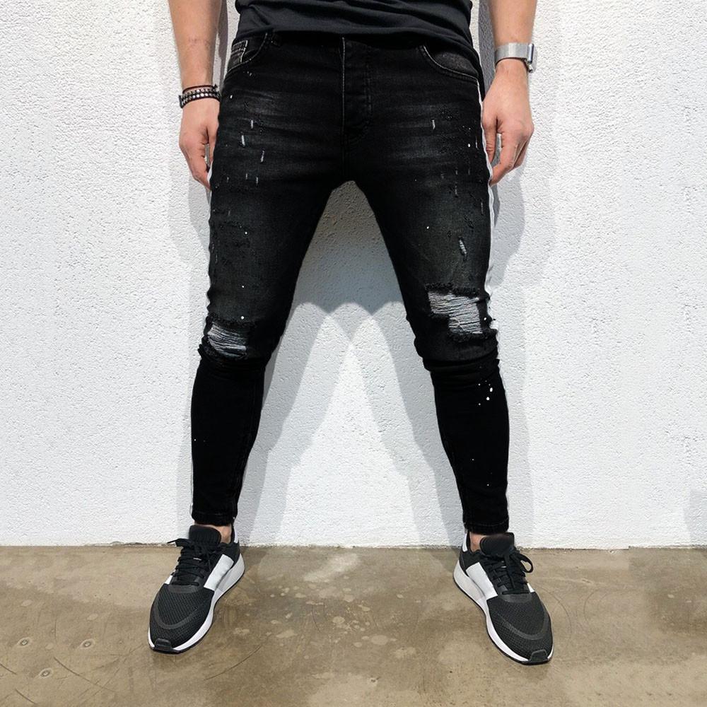 44f407c007509 Compre Pantalones Pitillo Con Agujero Para Hombre Pantalones Ajustados Y  Ajustados Pantalones Vaqueros Elásticos Largos Pantalones Ajustados De Los  Hombres ...
