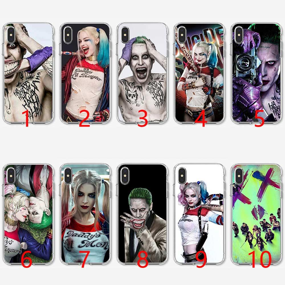 best service 052d1 1ce75 Harley Quinn Suicide Squad Soft Silicone TPU Phone Case for iPhone 5 5S SE  6 6S 7 8 Plus X XR XS Max Cover