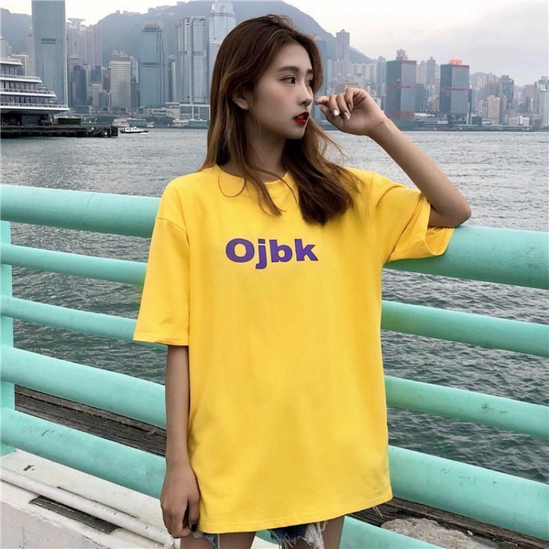 T Shirts 2018 Summer Preppy Style Vintage Letter Casual Tee Femme