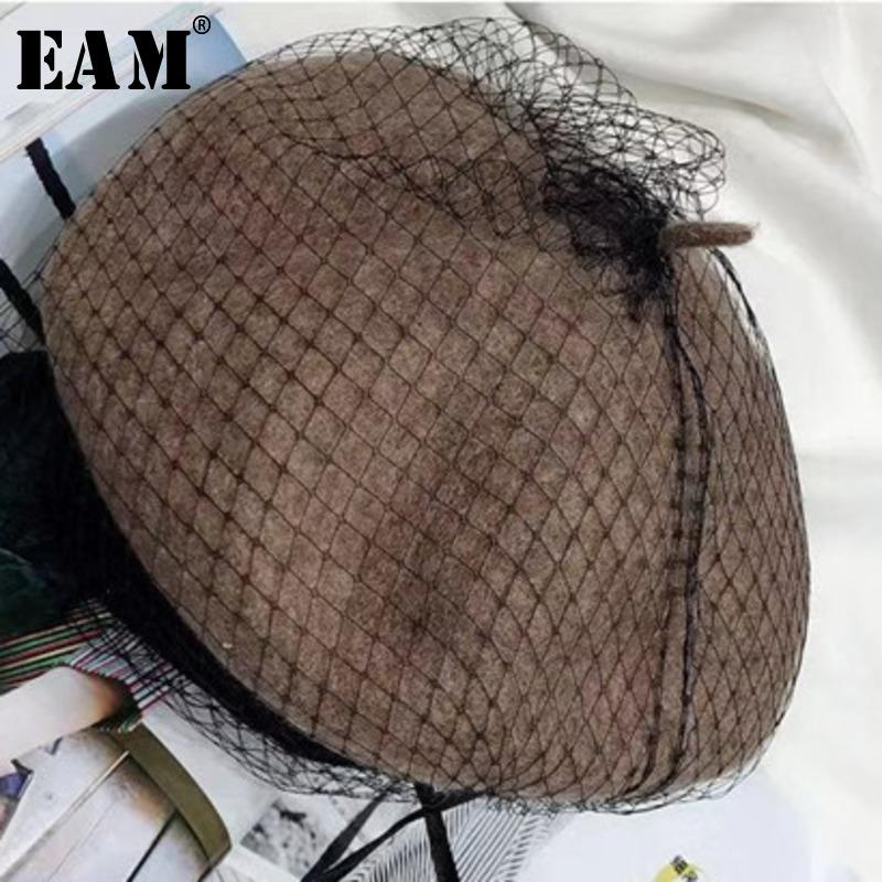 [EAM] 2019 Spring Winter Woman Stylish New Solid Coffee Color Temperament  Stylish Dome Flat Keep Warm Berets All Match LE976