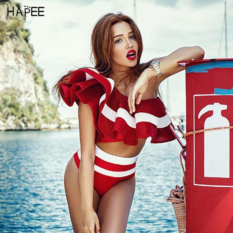 b4dfeac382386 2019 New Fashion Summer Black White Ruffles Swimsuit Women Striped Two  Piece Bikini Set One Off Shoulder Swimwear Sexy Beach Biqiuni UK 2019 From  Pittsburgh ...