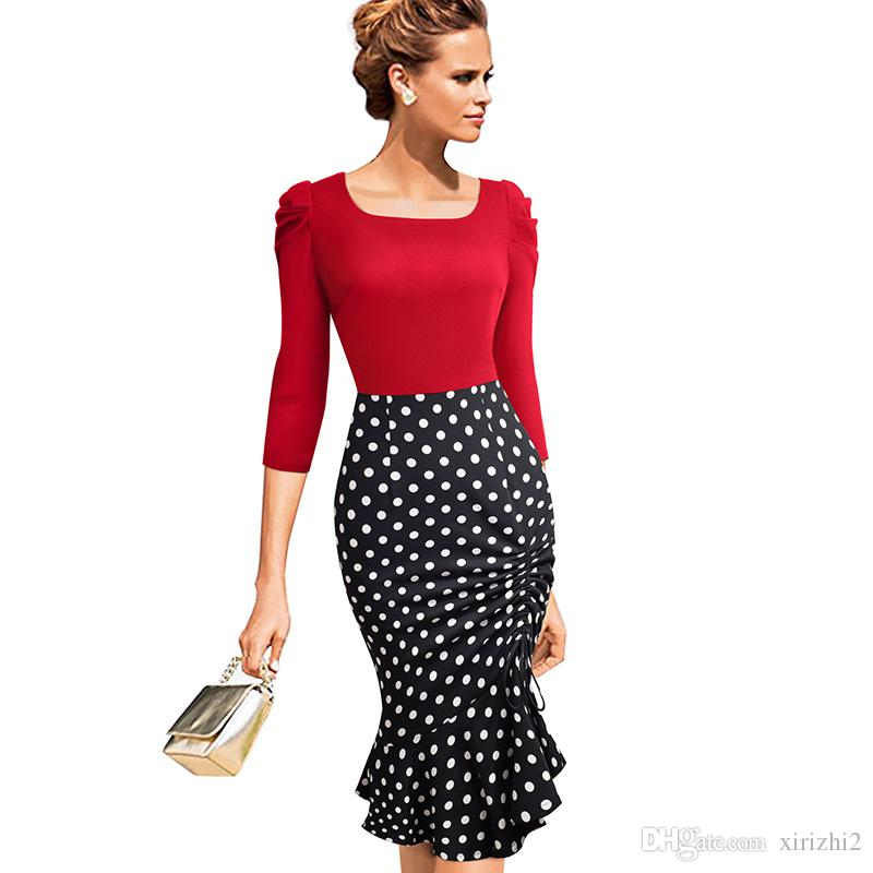 Autumn One Piece Dress New Arrival Long Sleeve Black And Red Polka ... 4d47c32ca5e0