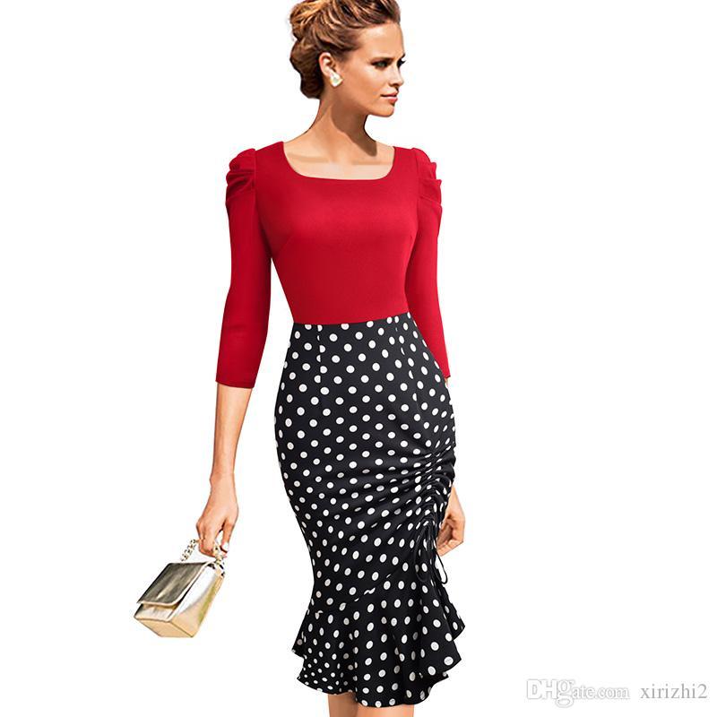 5007d1937a387 Satın Al Sonbahar Tek Parça Elbise Yeni Varış Uzun Kollu Siyah Ve Kırmızı  Puantiyeli Ince Kadın Elbise Trompet, $28.75   DHgate.Com'da