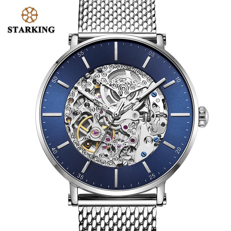 546a3bd98 STARKING Watch Brand Stainless Steel Male Watch Automatic Movement Men  Wristwatch 5ATM Blue Dial Mechanical Watches Clock AM0275 Buy Wrist Watches  Online ...