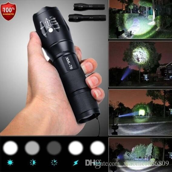 Police LED Flashlight Tactical 50000LM XML-T6 Zoomable Torch Lamp 5 modalità