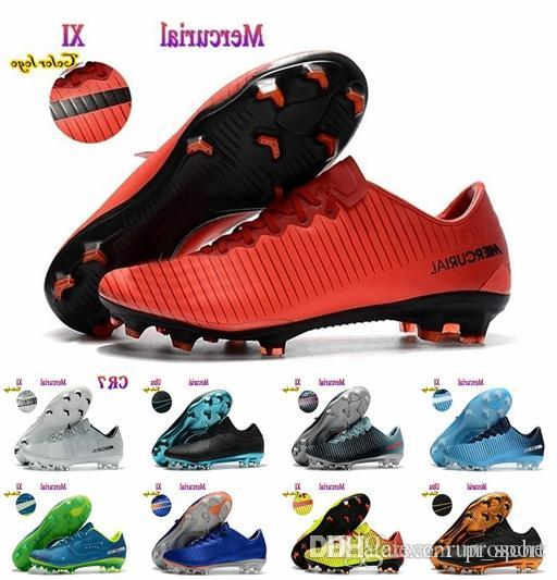 5f115e3bb 2018 Mens Low Ankle Football Boots CR7 Mercurial XI FG Indoor Soccer Shoes  Superfly V Soccer Cleats Boots Chaussures De Football Soccer Cleats Football  ...
