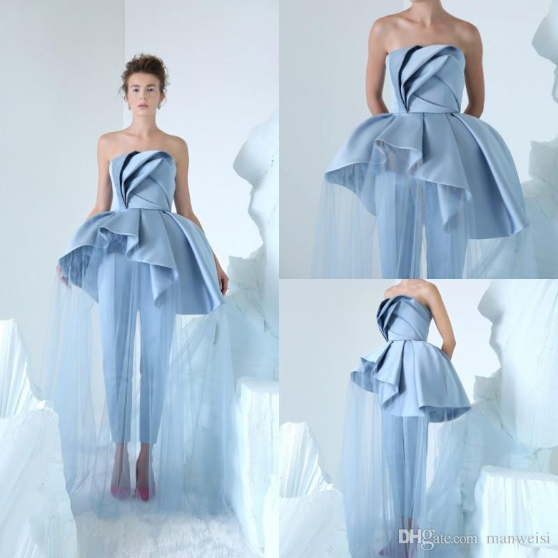 9a0d923382cc Azzi Osta 2019 Blue Jumpsuits Prom Dresses Simple Strapless Neck Cheap  Celebrity Party Gowns Peplum Long Formal Evening Dress Emo Prom Dresses  Faviana Prom ...