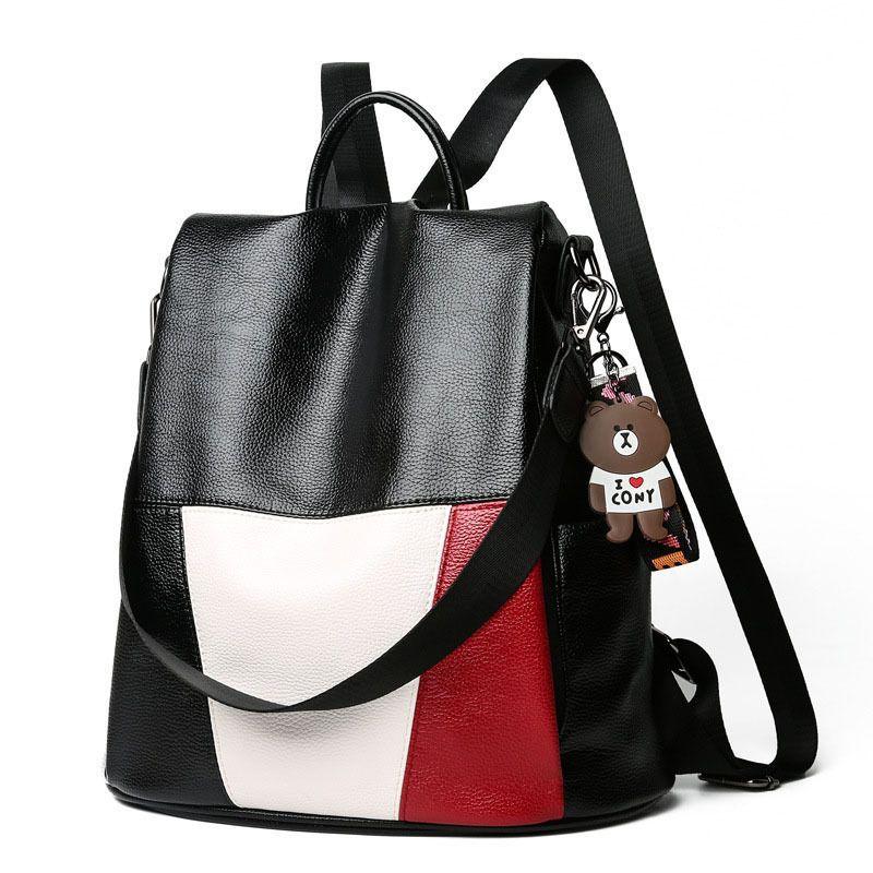 bd1638a217 Women Backpack New Fashion Pu Leather Large Capacity Girls Travel Bag  School Bag Waterproof Shoulder Bag Bookbag Rucksack Black Leather Backpack  Backpacks ...