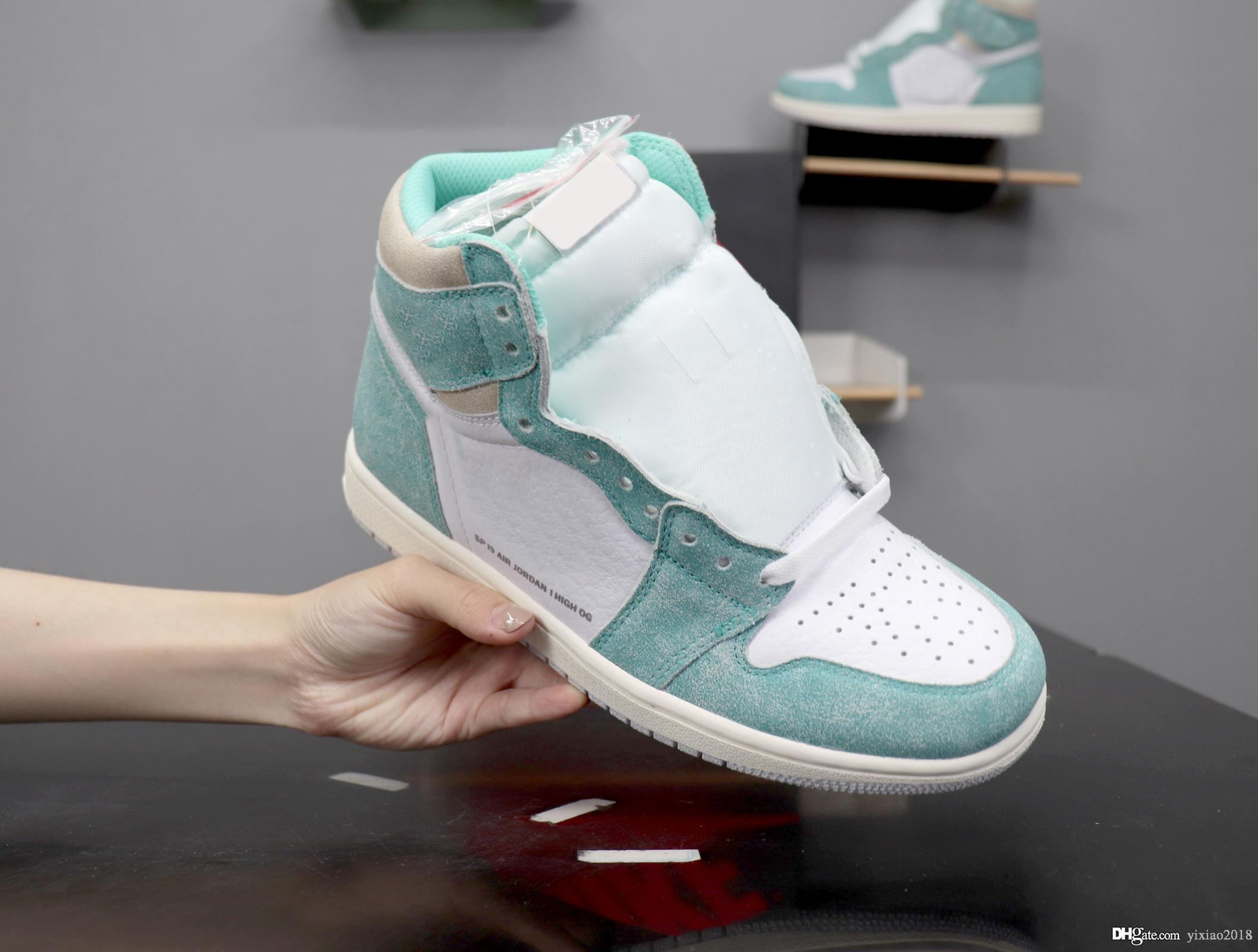 a15db745a549a1 2019 Fashion 1 1s Turbo Green Retro Basketball Shoes Suede Lake Green Teal  Designer Mens Athletic Trainers Casual Shoes Sneakers With Box Wedges Shoes  Black ...
