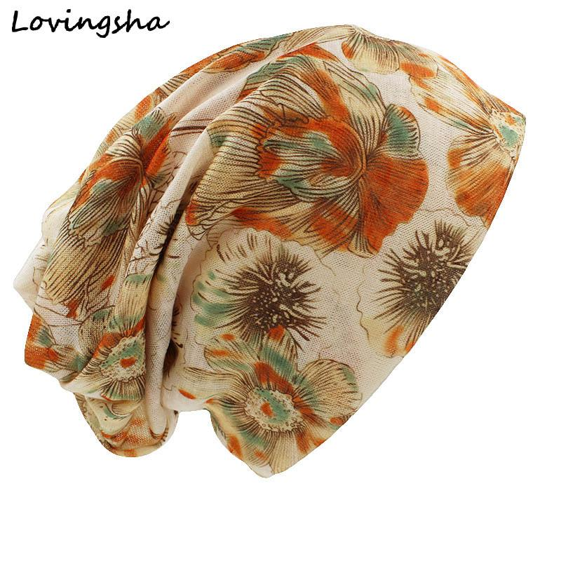 LOVINGSHA Fashion Brand Autumn Winter Vintage Design Dual-use Hats For Ladies thin Skullies Beanies Women Scarf Face Mask HT032