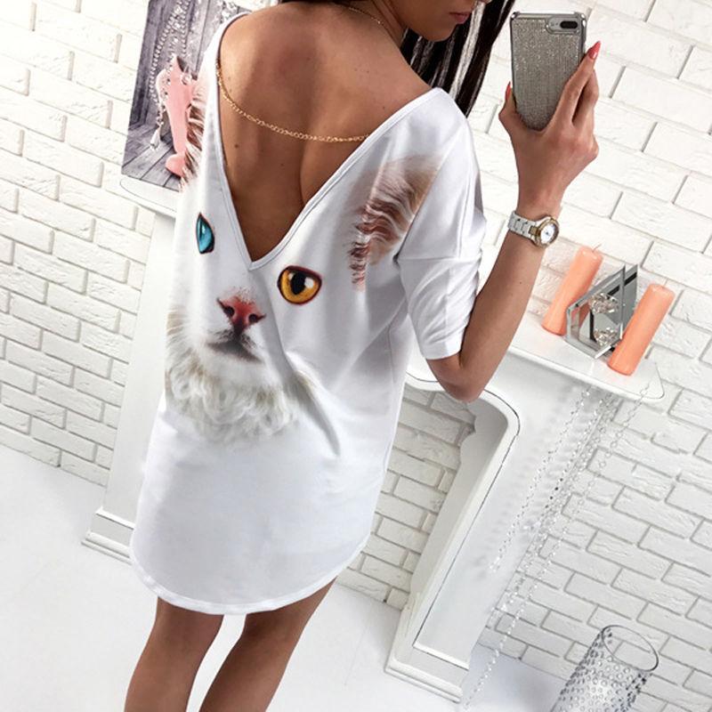 YENİ Kadınlar Yaz Gevşek Casual Gömlek Bluz Bayanlar En Moda Kedi Kelebek V sırtını Tops