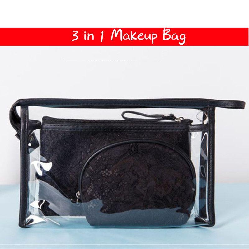 ce341d51e728 Designer makeup bag PVC LACE Cosmetic Bag 3PCS Set Clear Transparent Zipper  Brushes Organizer Storage Case