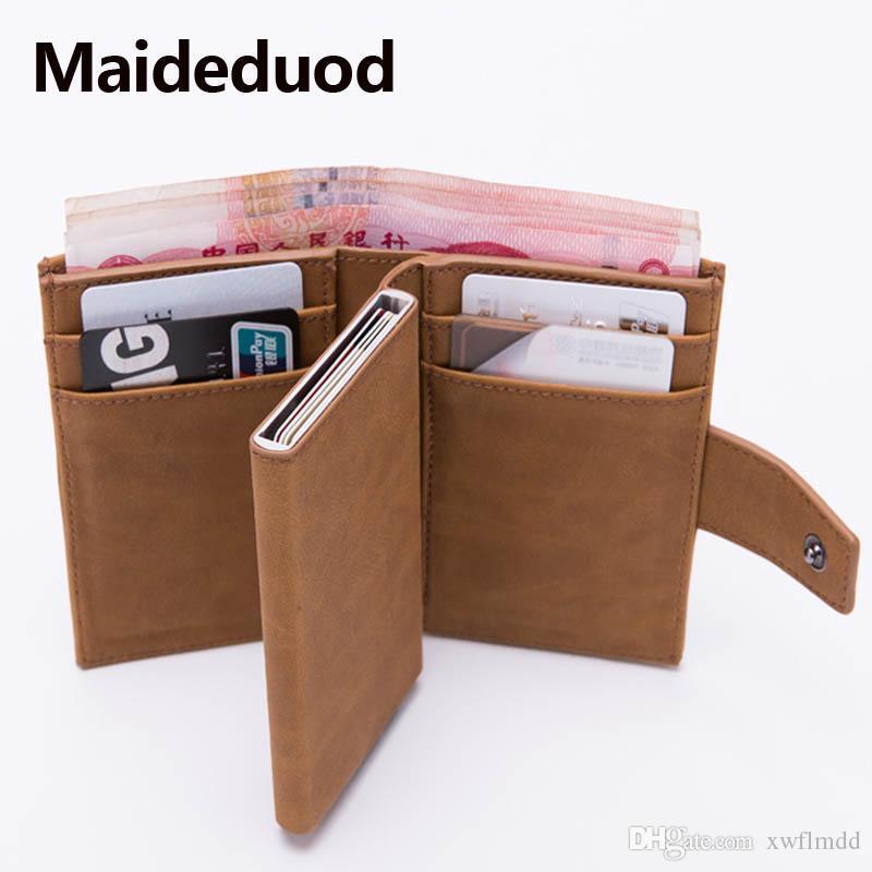 6aa9cd775d67 Maideduod 2019 New Style RFID Card Holder Minimalist Wallet Metal Men Women  card id holders Aluminium Blocking Holder for Cards Men wallet