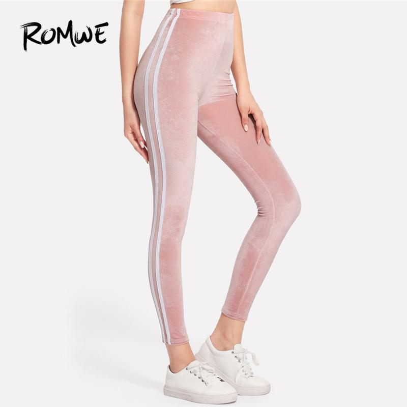 Romwe Pink Side Striped Velvet Women Casual Autumn Fashion Bottoms Female Spring Sporty Clothes Ladies Leggings Pants Q190509