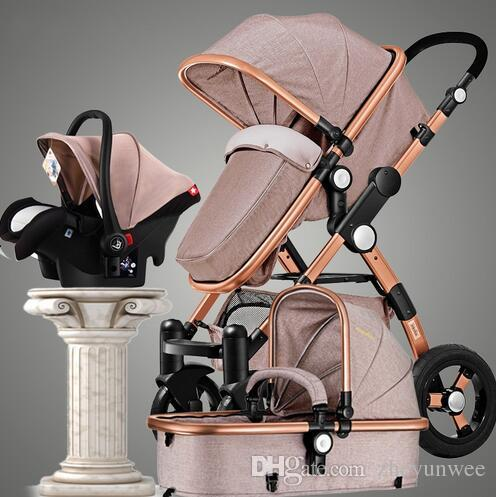 New Style 3 in 1 Baby Stroller with Car Seat For Newborn High View Folding Baby Carriage Travel Stroller
