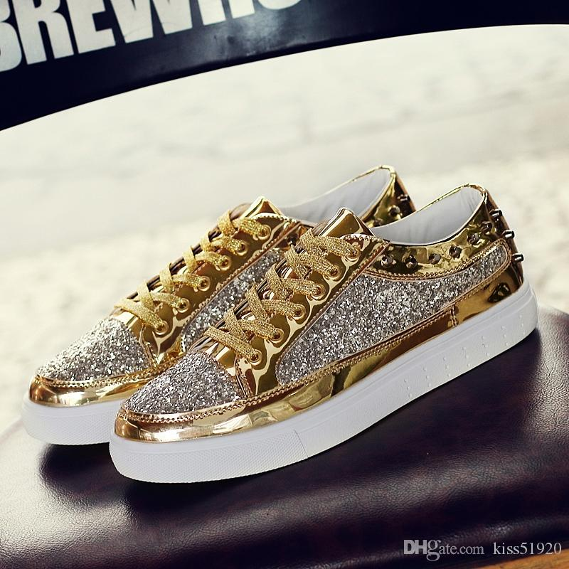 081f8149437 Rivet Design Female Flat Shoes Black Gold Silver Patent Leather Low Top  Fashion Casual Shoes For Women Plus Size Platform Shoes Hiking Shoes From  Kiss51920