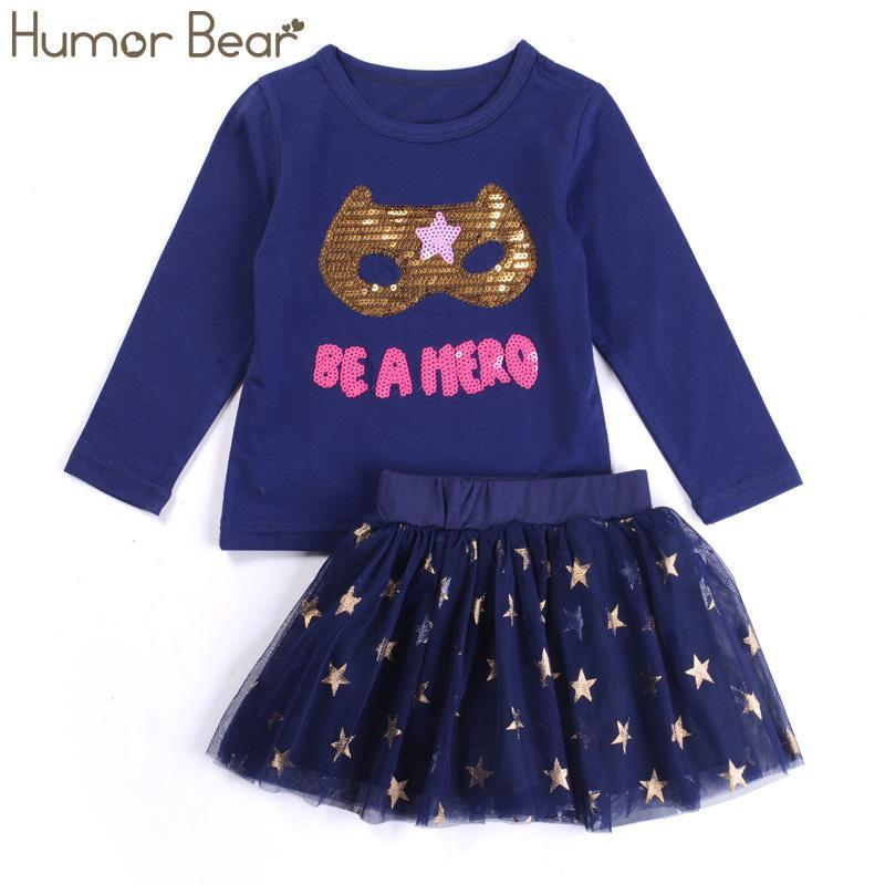 4e31e51de Humor Bear Baby Girl Clothes Set New Sequins Letter Long Sleeve T-Shirt +  Stars Skirt 2PCS Girl Clothing Sets Kids Clothes