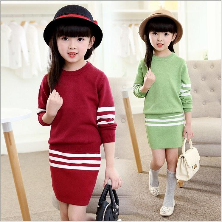 f2c84b07ae0e sweaters+skirt 2 pieces clothing set size 8 9 10 years old autumn winter  fashion kids clothes girls clothes set