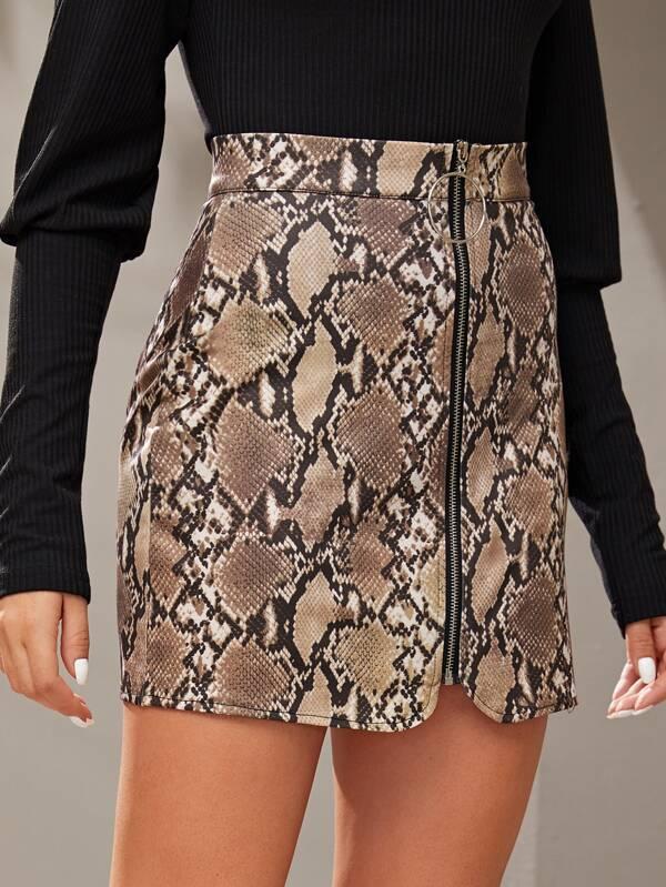 Женщины Sexy Серпантин мини юбки Мода осень зима Zip Up карандаш Юбки высокой талией Мини змеиной кожи Печатные Bodycon Юбки
