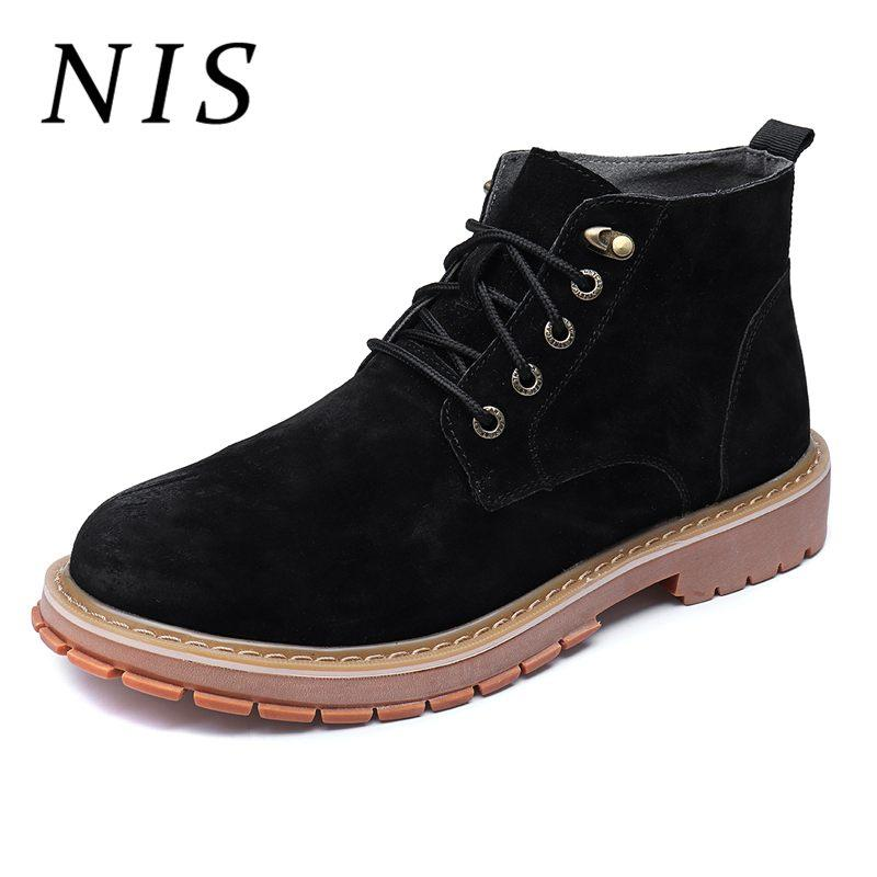 9259032388e56 NIS Big Size 39 45 PU Leather Men Boots Suede Motorcycle Ankle Boots Men  Spring Autumn High Top Casual Shoes Male Booties New Booties Football Boots  From ...