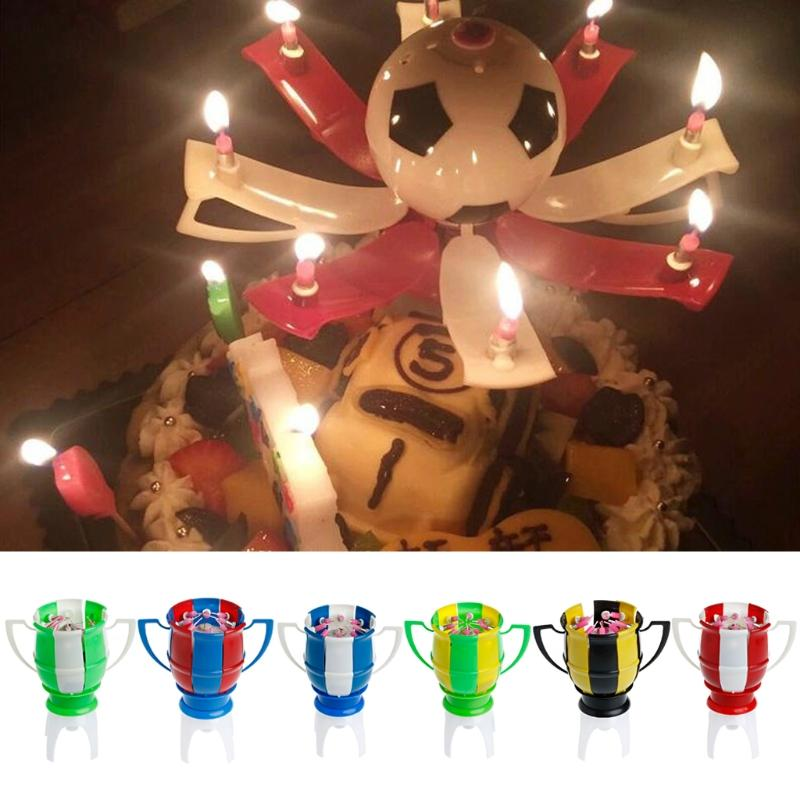 Musical Romantic Birthday Candle Rotating Football Cup Soccer Musical Candle Creative Happy Birthday Music Gift