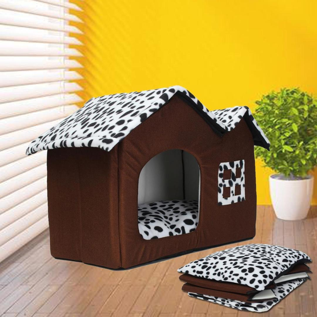 Portable Luxury Spot Double Top Pet House Dog Cat Sleep Bed Warm Cozy Puppy  Beding Home Pad Cushioh