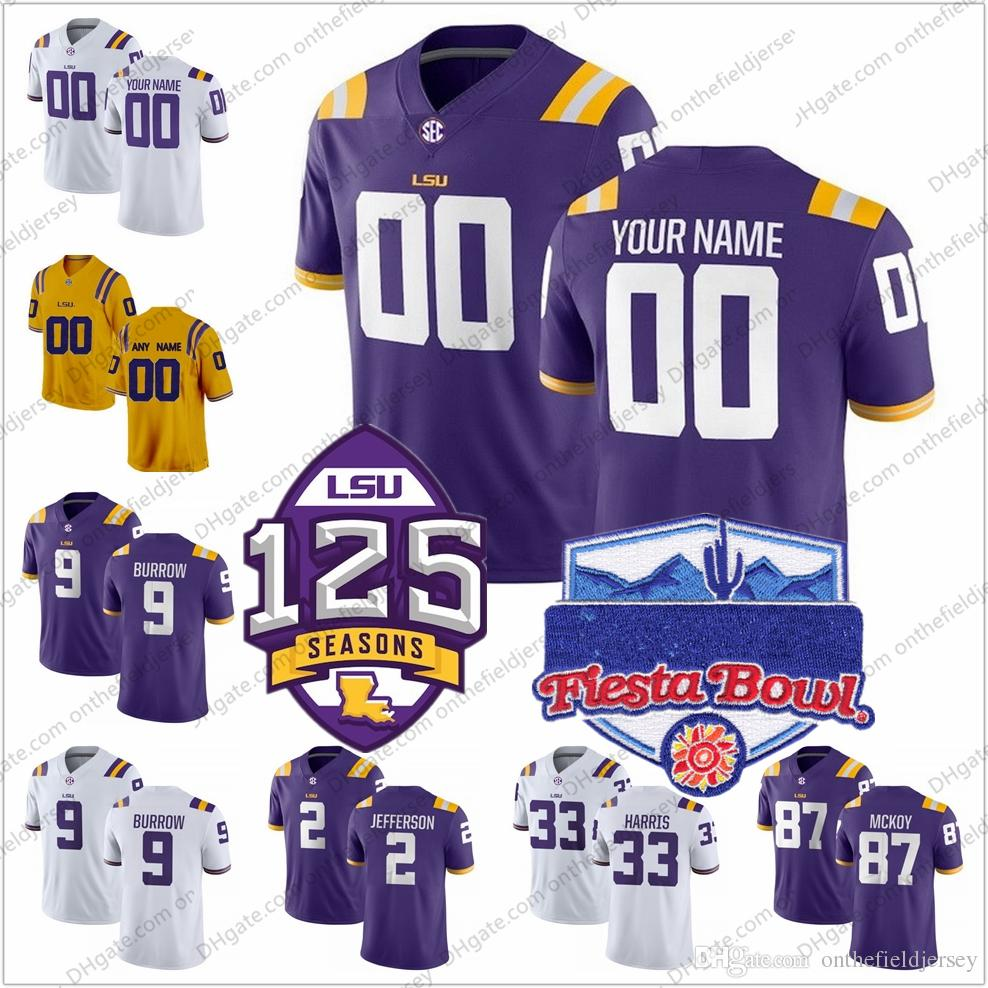 Personalizzato LSU Tigers 2018 Fiesta Bowl 125th College Football Maglie Qualsiasi numero Nome # 9 Joe Burrow 33 Jamal Adams 80 Jarvis Landry S-3XL