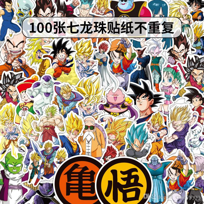 100 pcs pack Mixed Dragon Ball Anime Sticker For Car Laptop Skateboard Pad Bicycle Motorcycle Helmet Bike Cup PS4 Phone Decal Pvc Stickers