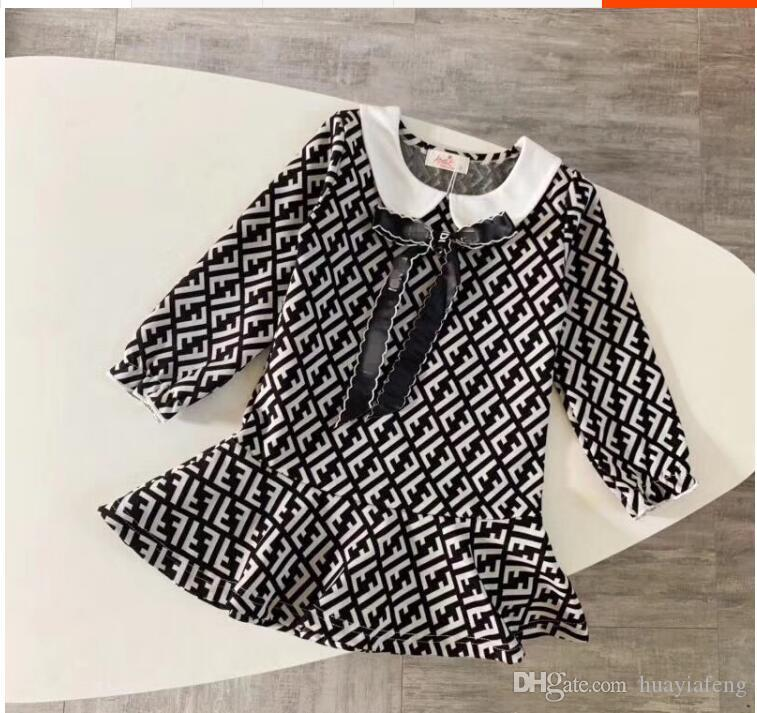 2019 new girls high-end cotton dress fashion lace letter dress / birthday party banquet dress / summer casual short-sleeved T-shir