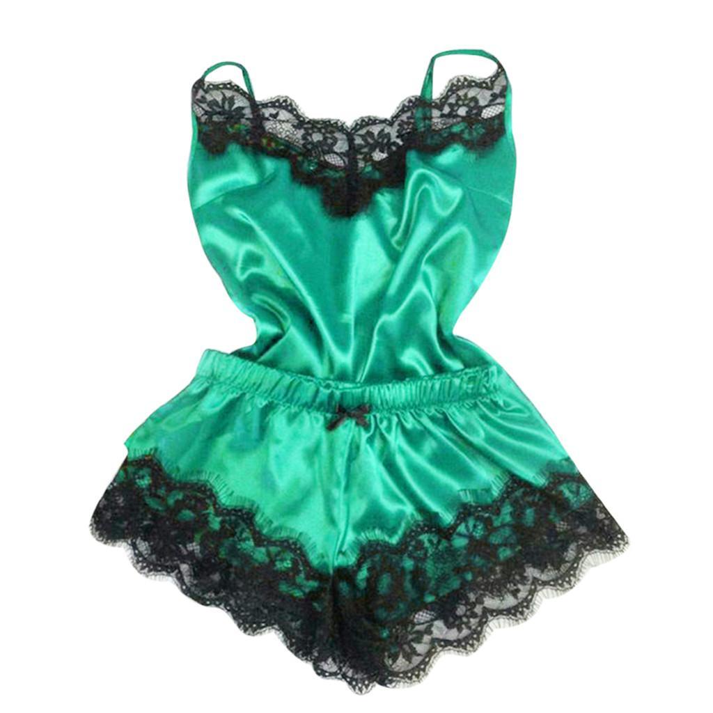 Frauen Nachtwäsche Sleeveless Strap Nachtwäsche Spitzenbesatz Satin Cami Top Pyjama Sets Sexy Dessous Intimate Ladies pijama mujer 2019