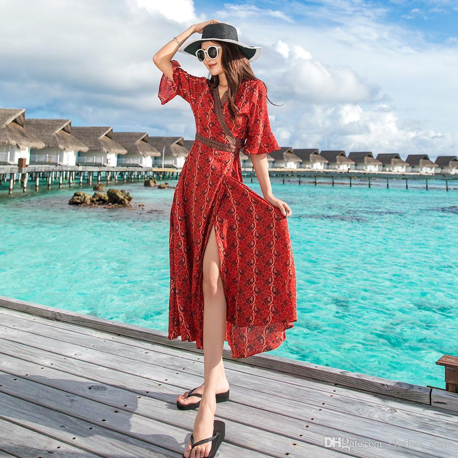 49835d1cd Vestido con estampado floral 2019 nuevo abrigo vestido gasa manga flare  vintage rojo largo verano delgado casual moda playa vacaciones vacaciones  ...