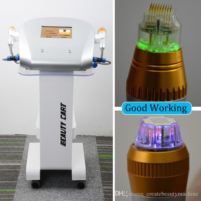 Rf fracionária Anti-envelhecimento da pele firme máquina Profissional microneedle rf Estrias Remoção thermage máquina facial 2 alças