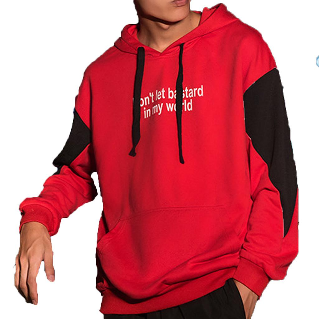 Men's Fashion Long-sleeved Round Neck Solid Color Patchwork Tops Top Men Outwear Hoody Tracksuits Sweatshirts Hoodies 2019 NEW