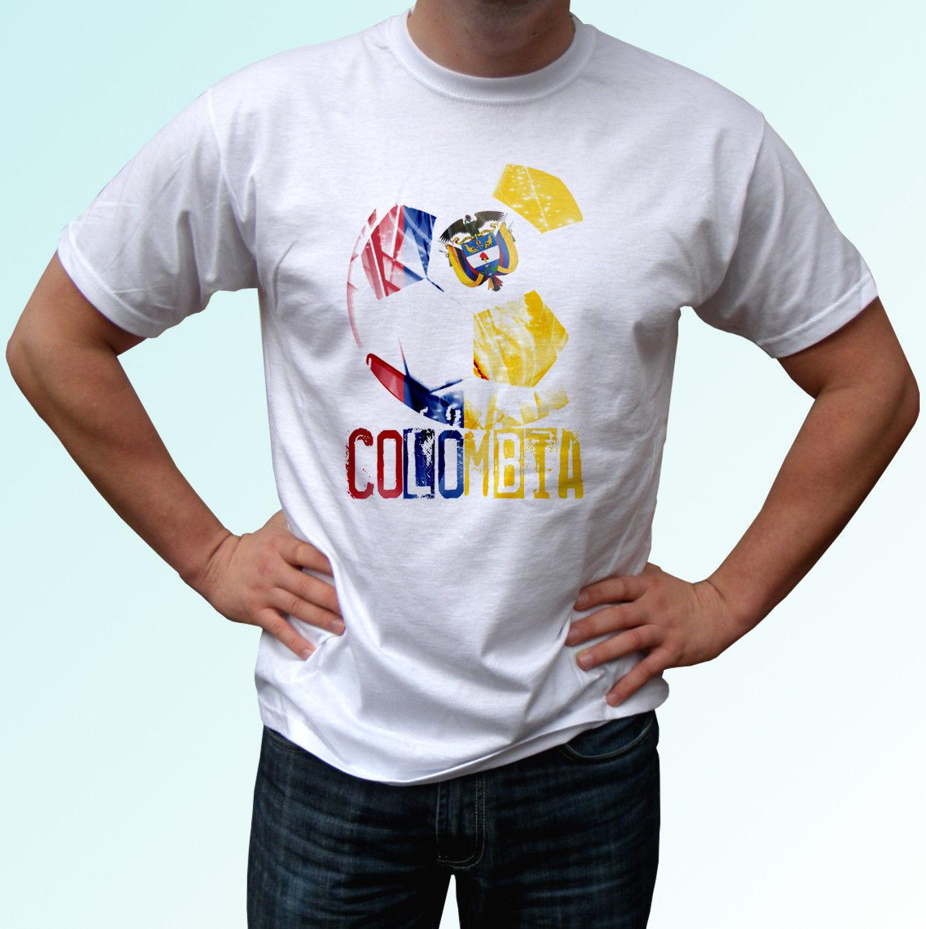 9ab52aae36c Colombia Football Flag White T Shirt Soccer Camiseta World Cup Top Tee All  Sizes Funny Unisex Casual Tshirt Top Different T Shirts Day Shirt From ...