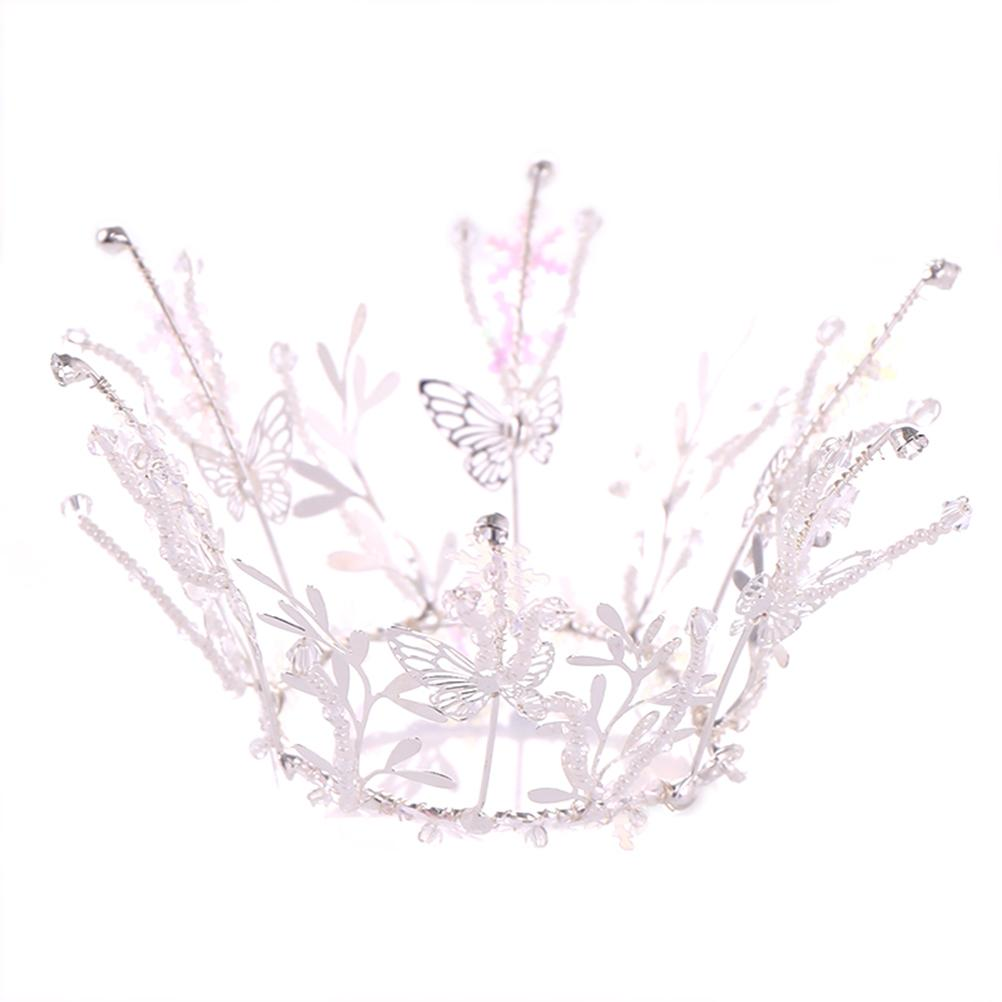 1pc Women Crown Handmade Lovely Butterfly Headpiece Hair Accessory Tiara Crown Headband for Wedding Party Birthday