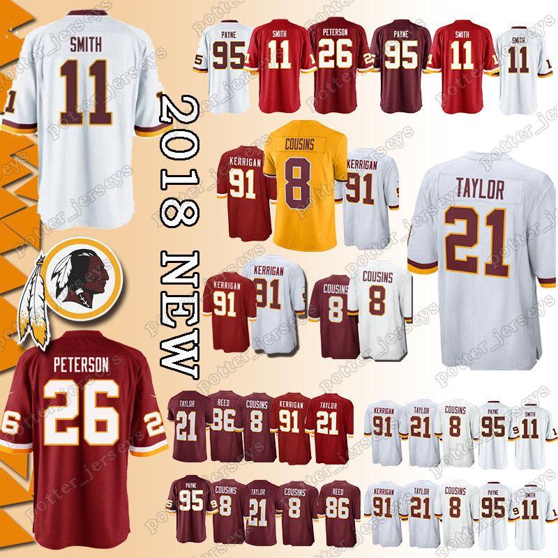 competitive price b8c5a 1bad6 Cheap sales Washington Redskins Jerseys 21 Sean Taylor 11 Alex Smith 29  Derrius Guice 26 Adrian Peterson 91 Ryan Kerrigan 86 Reed Jersey TOP
